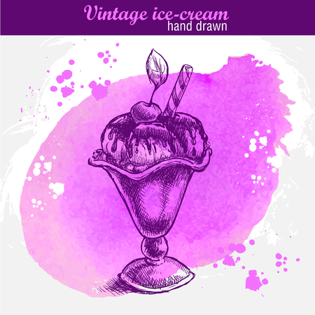 sweet sauce: Vintage hand drawn vanilla ice cream with sauce, wafer, sweet cherry in cup. Watercolor background Illustration