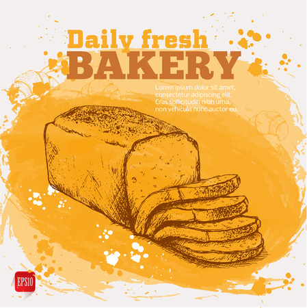 Bakery. Vector sketch of fresh bread on watercolor background
