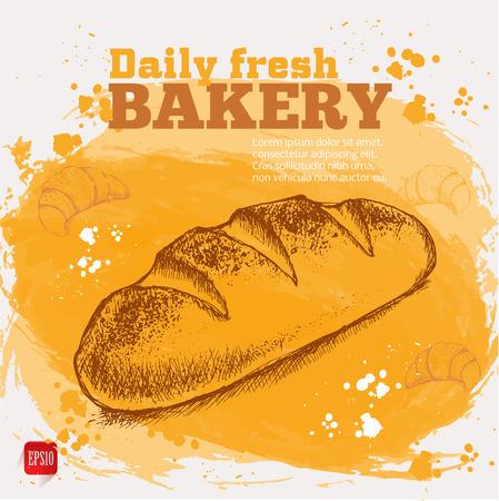 pain frais: Boulangerie. Vecteur croquis de pain frais sur fond d'aquarelle