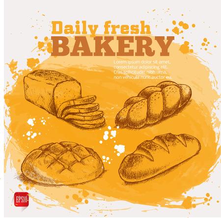 pain frais: Boulangerie. Set croquis de pain frais sur jaune fond d'aquarelle Illustration