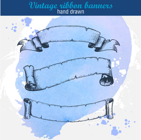 hand drawn old ribbons set banners on watercolor background