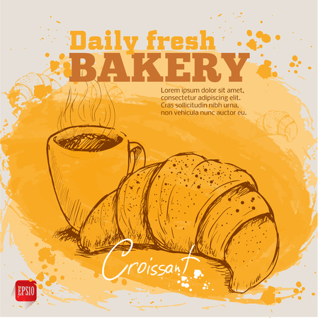 Watercolor background with sketch style croissant an cup of coffee. Hand drawn design for your business. Stock Illustratie