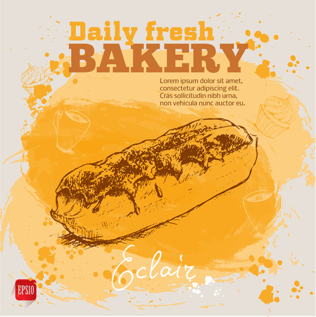 eclair: Watercolor background with sketch style eclair cake. Hand drawn design for your business.