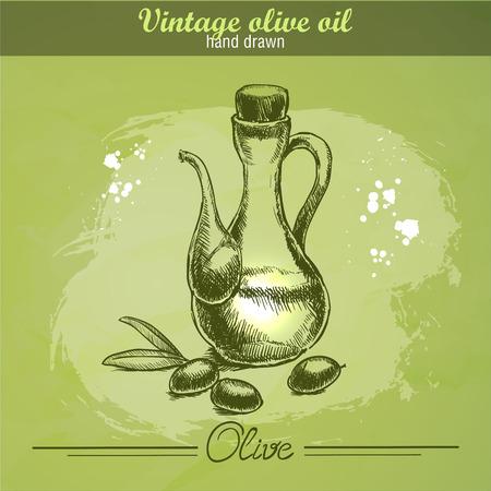 botella de aceite de oliva: Botella de la vendimia de aceite de oliva con la rama de olivo. Dibujado a mano. Acuarela grunge fondo verde