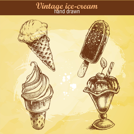 soft serve ice cream: Set of vintage hand drawn ice cream on watercolor background Illustration