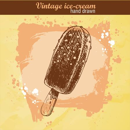 wood stick: Hand drawn sketch style chocolate ice cream lolly. Ice cream on wood stick. Watercolor background