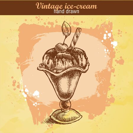 sweet sauce: Vintage hand drawn vanilla ice cream with sauce, wafer, sweet cherry in cup. Grunge background