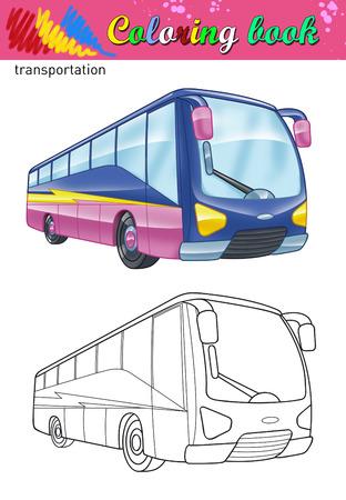 passenger buses: Colorear de autobús turístico. Libro para colorear para los niños. Viaje de color de autobuses y el esquema ilustración.