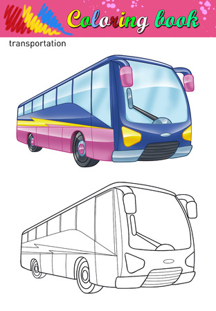 touring: Coloring of tour bus. Coloring book for kids. Travel bus color and outline illustration.