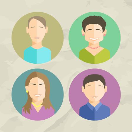 트렌디 한 평면 스타일의 다채로운 얼굴 원 아이콘 세트 스톡 콘텐츠 - 44378401