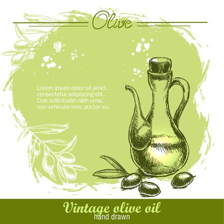 grunge bottle: Vintage olive oil bottle with olive branch. Hand drawn. Watercolor green grunge background