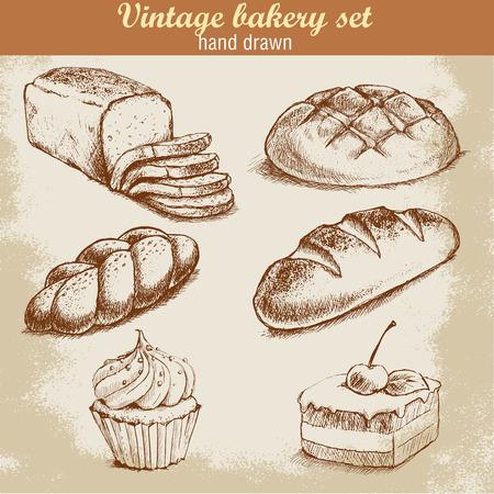 pain: Main Vintage attirée croquis ensemble de la boulangerie de style. Le pain et pâtisserie bonbons sur fond grunge.