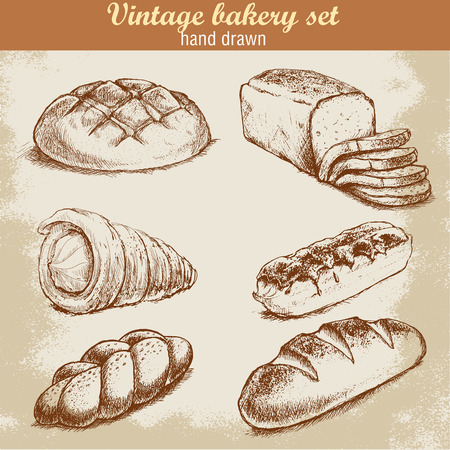 draw: Vintage hand drawn sketch style bakery set. Bread and pastry sweets on grunge background.