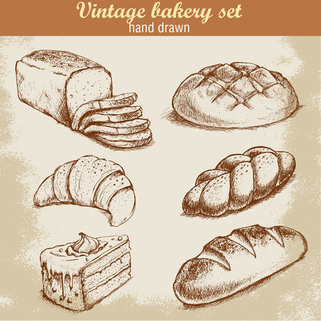 bakery oven: Vintage hand drawn sketch style bakery set. Bread and pastry sweets on grunge background.