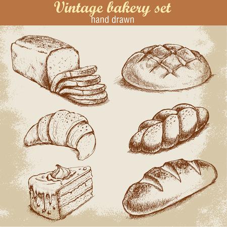 pan frances: Vintage mano dibujada conjunto panader�a estilo de dibujo. Pan y pasteles dulces en el fondo del grunge.