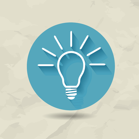 shining light: Round shining light bulb vector icon conceptual of ideas inspiration innovation and invention. Old paper background Illustration