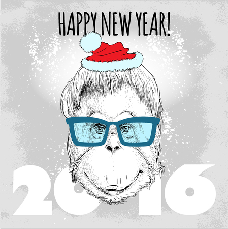abstract gorilla: Orangutan monkey Hipster with blue glasses and Christmas hat. Merry Christmas and Happy New Year vector illustration for placard design, posters, fashion print and textile