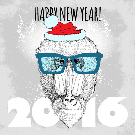 mandrill: Mandrill monkey Hipster with blue glasses and Christmas hat. Merry Christmas and Happy New Year vector illustration for placard design, posters, fashion print and textile