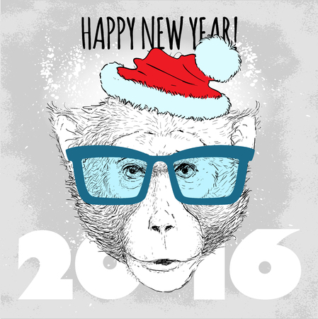 macaque: Macaque monkey Hipster with blue glasses and Christmas hat. Merry Christmas and Happy New Year vector illustration for placard design, posters, fashion print and textile