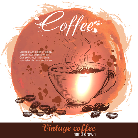 cofee cup: Vintage hand drawn coffee cup with cofee beans. Sketch style on watercolor grunge background
