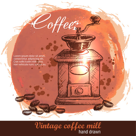 Vintage hand drawn coffee mill with lot of coffee beans. Sketch style. Watercolor background. Illustration