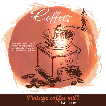 빈티지 손으로 커피 콩의 많은 커피 밀을 그려. 스케치 스타일. 수채화 배경입니다.