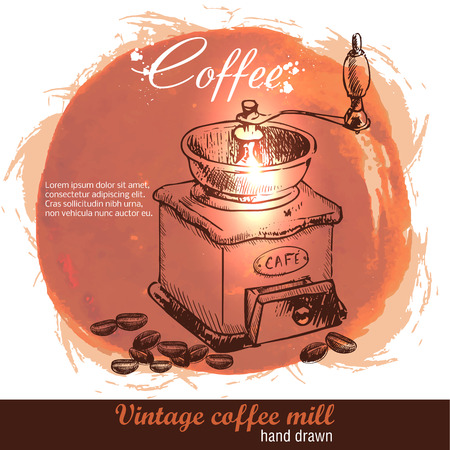 Vintage hand drawn coffee mill with lot of coffee beans. Sketch style. Watercolor background. Vectores