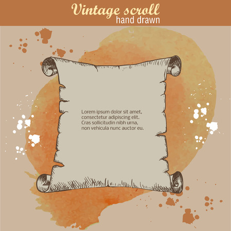 papering: Old scroll sketch style on watercolor background. Hand drawn Illustration
