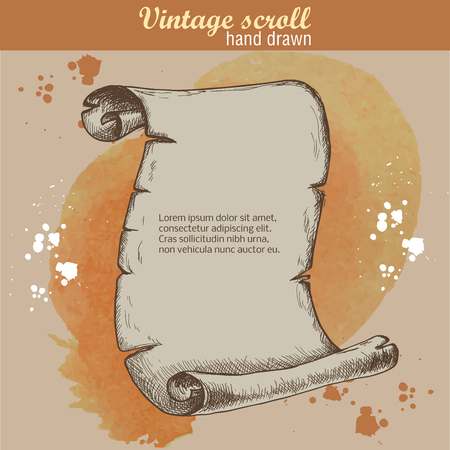 Old scroll sketch style on watercolor background. Hand drawn Vectores