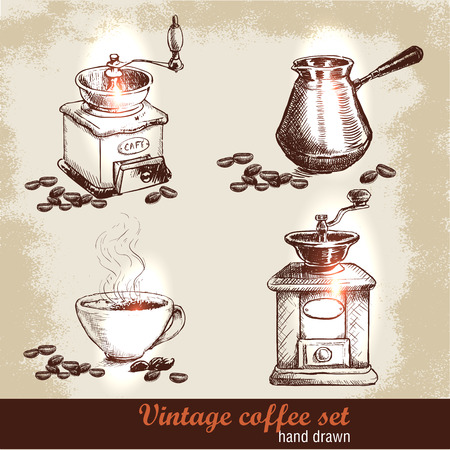 french culture: Vintage hand drawn coffee set with coffee beans. Sketch style. Grunge background