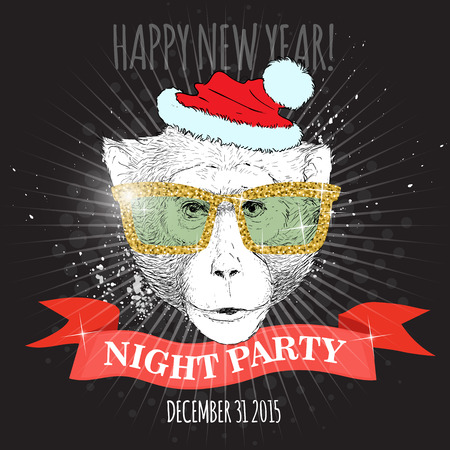 macaque: Happy new year night party poster. Macaque monkey Hipster with glitter glasses and Christmas hat. Hand drawn sketch vector illustration for posters, invitations and party flyers.