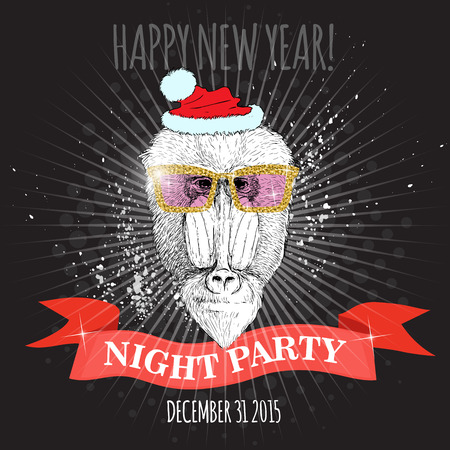 mandrill: Happy new year night party poster. Mandrill monkey Hipster with glitter glasses and Christmas hat. Hand drawn sketch vector illustration for posters, invitations and party flyers. Illustration