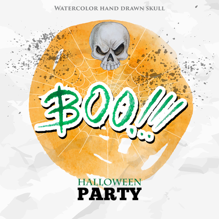 boo: Happy Halloween party design on old paper and yellow watercolor circle background. Watercolor skull and BOO lettering. Vector illustration