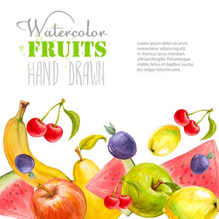 multivitamin: Watercolor fruits background. Hand drawn vector illustration. Organic food multivitamin   banner. Illustration