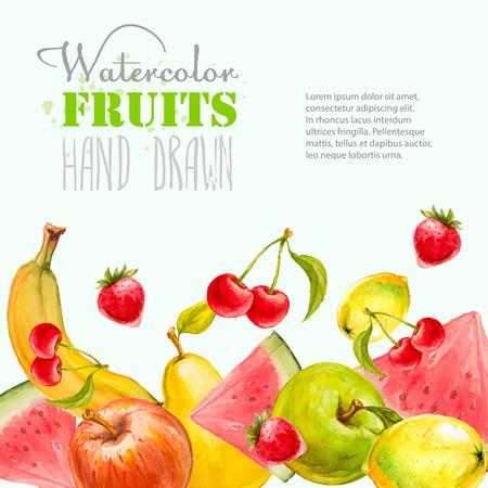multivitamin: Watercolor fruits background. Hand drawn vector illustration. Organic food banner. Illustration
