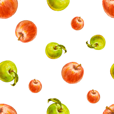 green apples: Watercolor seamless pattern with red and green apples. Hand drawn design. Vector summer fruit illustration.