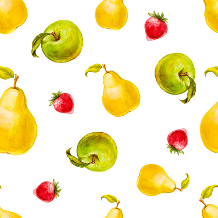 pear: Watercolor seamless pattern with strawberries, pears and green apples. Hand drawn design. Vector summer fruit illustration.