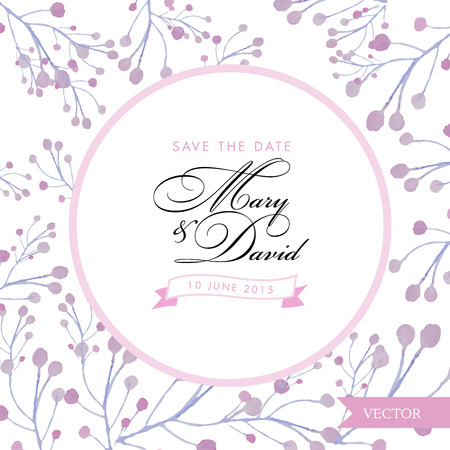 romantic date: Save the date card. Floral watercolor hand drawn. Romantic vintage design for invitation, wedding or greeting cards.