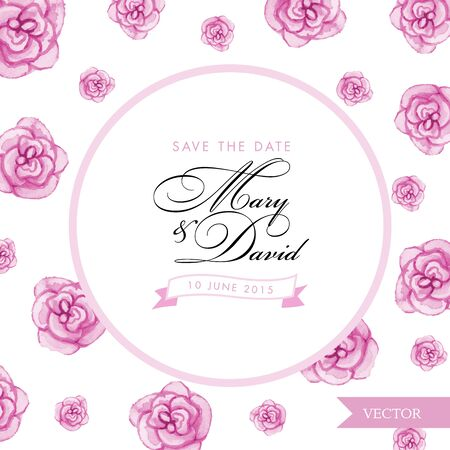 romantic date: Save the date card. Roses watercolor hand drawn. Spring or summer romantic design for invitation, wedding or greeting cards.