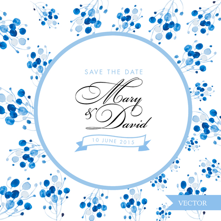 romantic date: Save the date card. Blue floral watercolor hand drawn design. Romantic vintage design for invitation, wedding or greeting cards.