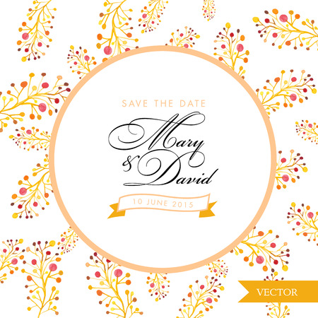 romantic date: Save the date card.Yellow floral watercolor hand drawn. Romantic vintage design for invitation, wedding or greeting cards.