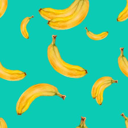 Aquarelle seamless pattern avec des bananes sur fond turquoise. Hand drawn design. Vector summer fruit illustration.