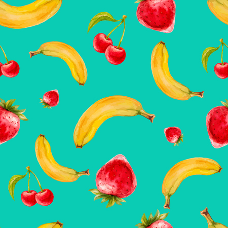 turquiose: Watercolor seamless pattern with strawberries, bananas and cherries on turquoise background . Hand drawn design. Vector summer fruit illustration.