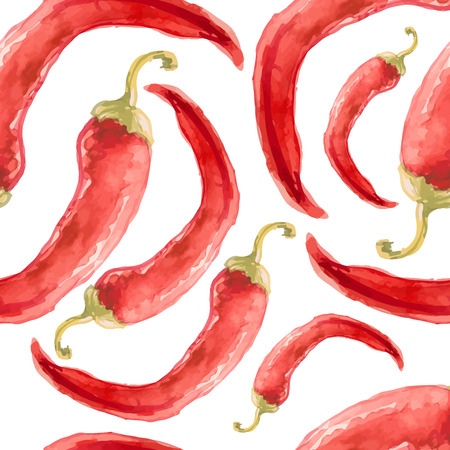 chili pepper: Watercolor hand drawn seamless pattern with red chilli pepper. Vector eco food illustration.