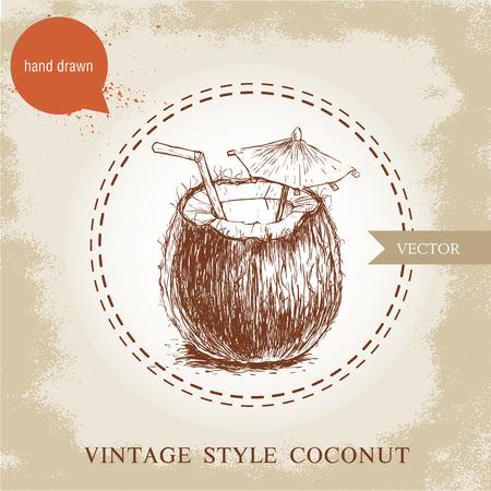 손으로 그린 코코넛 칵테일 빈티지 배경에 고립. 레트로 스케치 스타일 열 대 음식 그림.