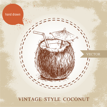 Hand drawn coconut cocktail isolated on vintage background.Retro sketch style tropical food illustration. Vettoriali