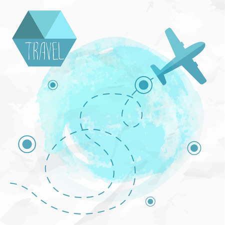 Travel by plane. Airplane on his destination route. Watercolor blue background and flat style airplane. Illustration