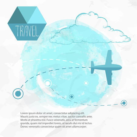 Travel by plane. Airplane on his destination routes. Watercolor blue background and flat style airplane. hand drawn sketch style cloud. Air traffic illustration. Illustration