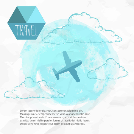 Travel by plane. Watercolor blue background and flat style airplane. Hand drawn sketch style clouds.