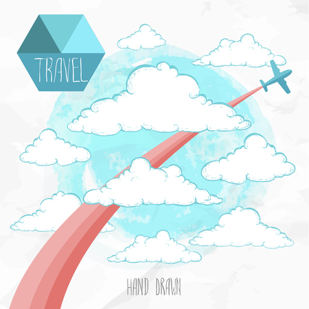flightpath: Card with airplane and colored trace flying through hand drawn sketch style clouds. travel illustration.